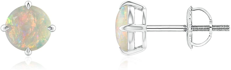 Basket-Set Round Opal Stud Earrings (5mm Opal)