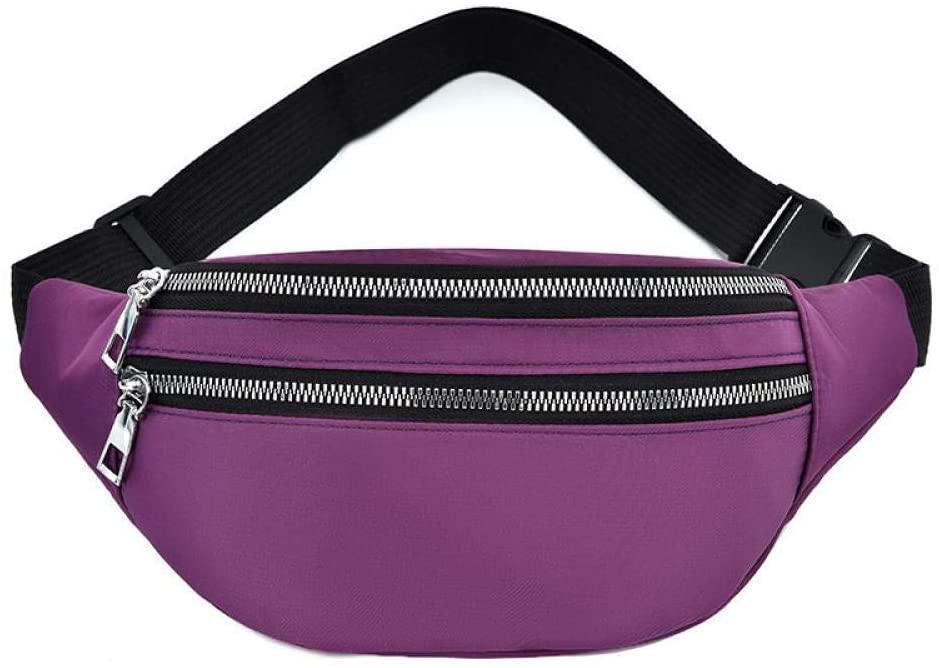 Fanny Pack, Solid Waterproof Waist Bag with 2-Zipper Pockets Unisex Bum Bag Lightweight Travel Crossbody Chest Bag Hip Bag 4219purple