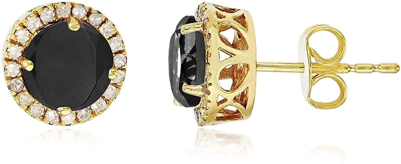 14K Yellow, White, Rose Gold 6mm Round Gemstone & 0.2 CTTW Diamond Halo Stud Earring
