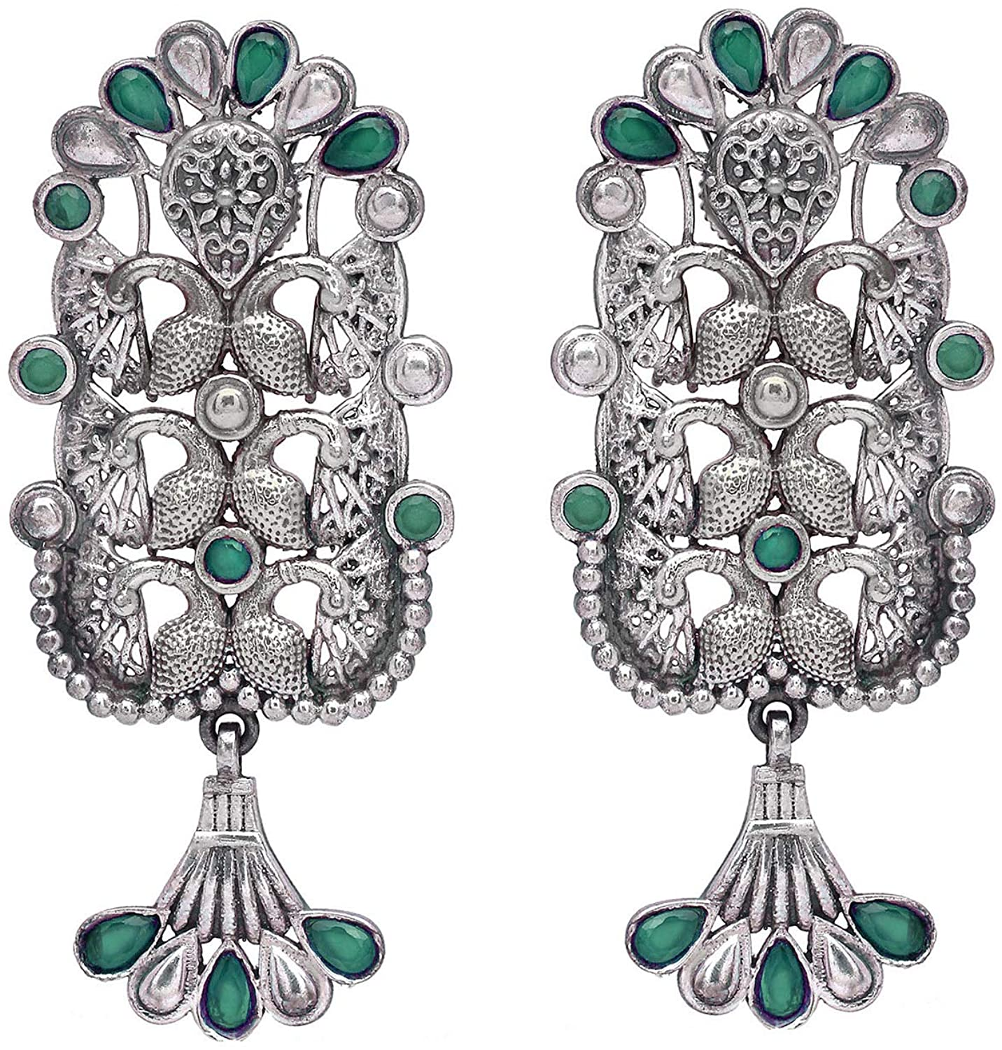 Aheli Ethnic Vintage Bohemian Style Indian Oxidized Finish Dangle Earrings Bollywood Wedding Traditional Jewelry for Women Girls
