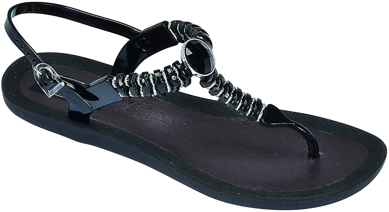 Grandco Women's Pebble T-Strap Beaded Flip Flop Sandals 28522 (Black, Numeric_8)