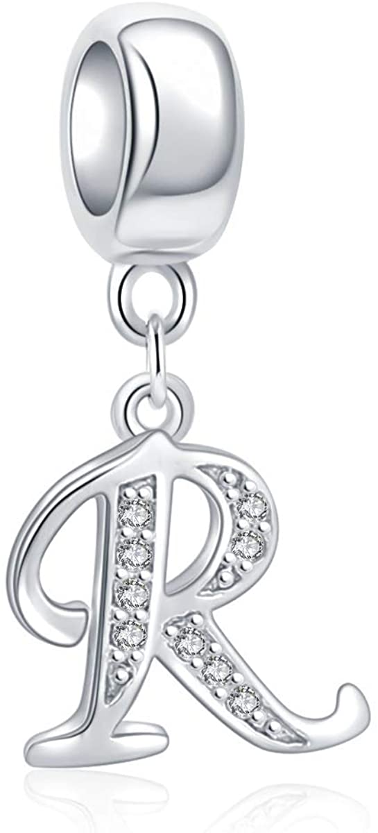 ABUN 925 Sterling Silver Charms Alphabet Beads A-Z Letter Initial Spacer Dangle Clear CZ Stone Authentic for Snake Chain Bracelets