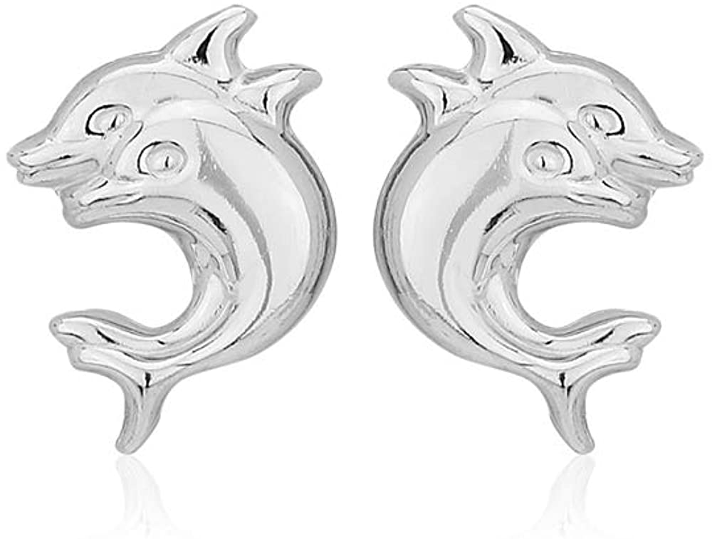 Vanbelle Sterling Silver Jewelry Playful Twin Dolphin Stud Earring with Rhodium Plating for Women and Girls