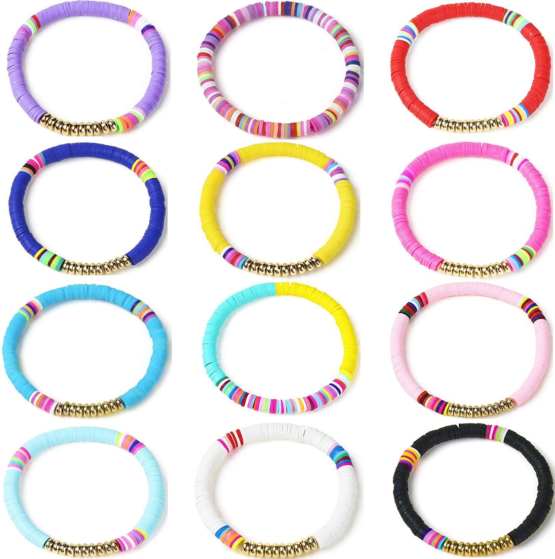 Floveal 12 pcs Heishi Beaded Bracelets Rainbow Vsco Boho Friendship Beaded Bracelets for Women Teen Girls Summer Stretch String Bracelets Stackable Surfer Bracelets