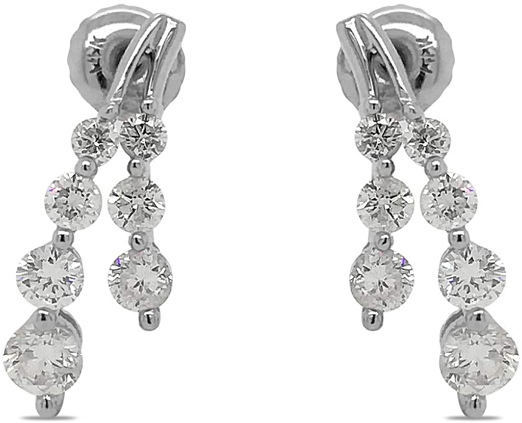 TriJewels AGS Certified Round Diamond 1 ctw Womens Dangling Earrings 14K White Gold