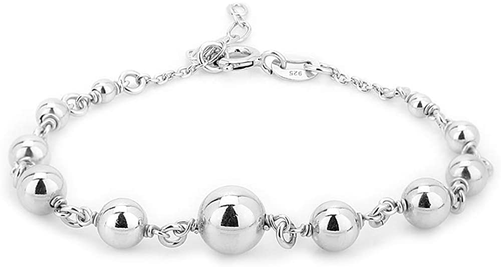Vanbelle Sterling Silver Jewelry Sewn Silver Beads Bracelets with Rhodium Plating for Women and Girls