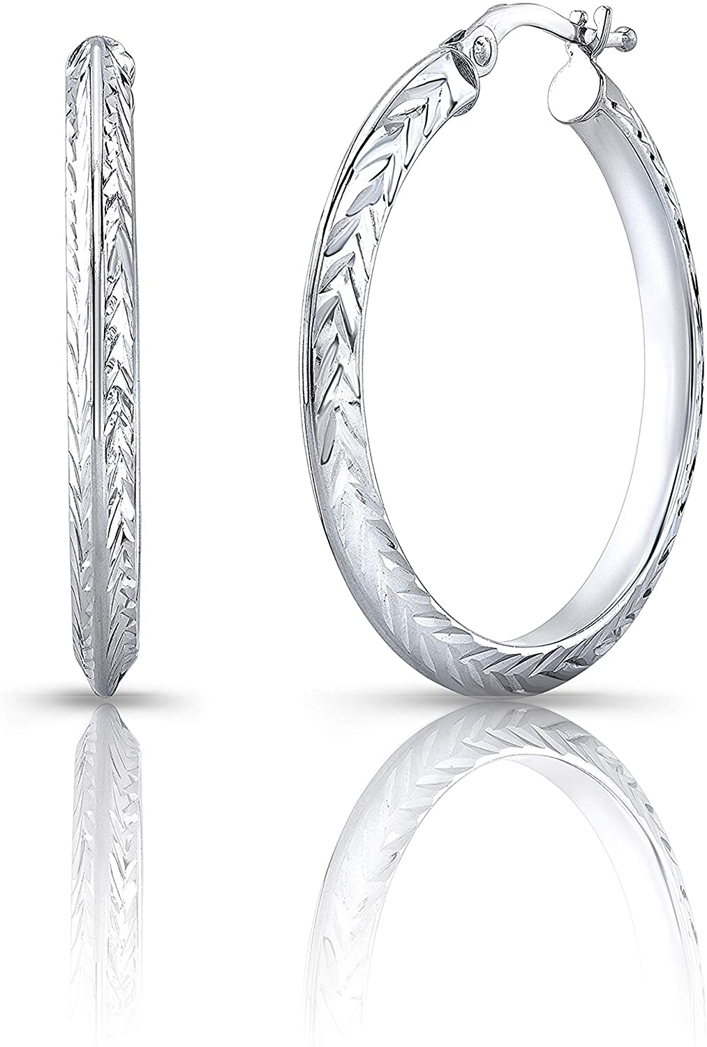 Milano Jewelry Collection Certified 14K White Gold 2.10 grams White Gold Diamond Cut Designed Hoop Earring l Gift Boxed l Made in Italy (14K-E2696/WG)