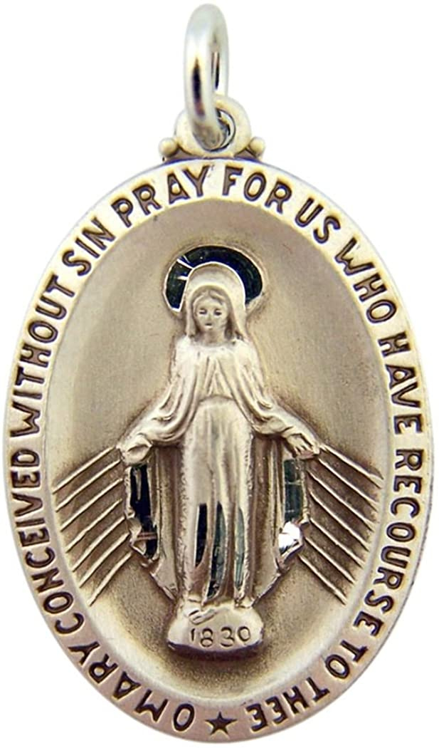 Sterling Silver the Miraculous Medal of Conception Virgin Mary Pendant, 1 1/4 Inch