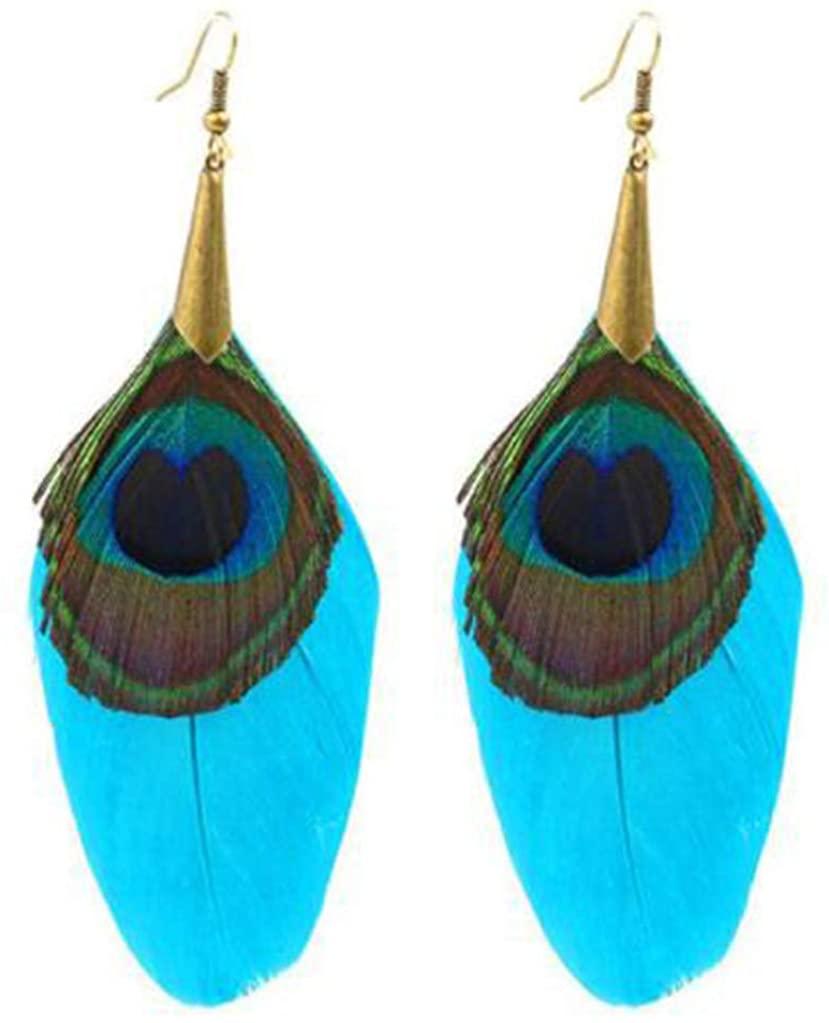 Women Feather Dangle Earrings Ethnic Round Wooden Beads Peacock Long Tassel Earrings Vintage Bohemian Earring for Party Wedding