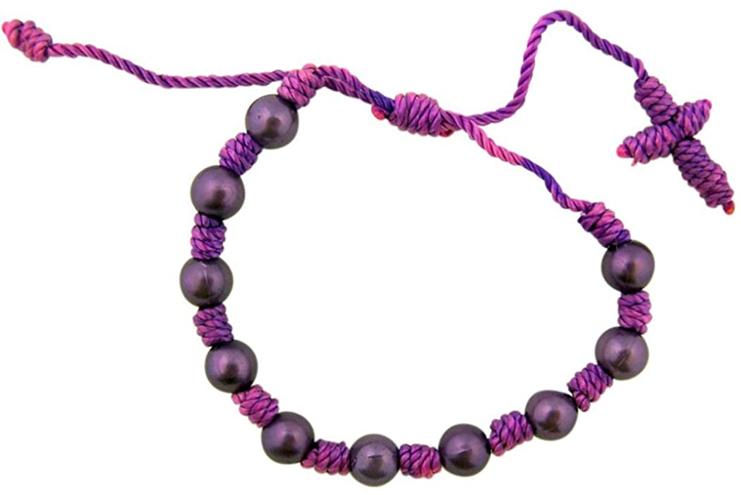 CB Purple Cord Rosary Bracelet with Moulded Acrylic Prayer Beads, 7 3/4 Inch Adjustable