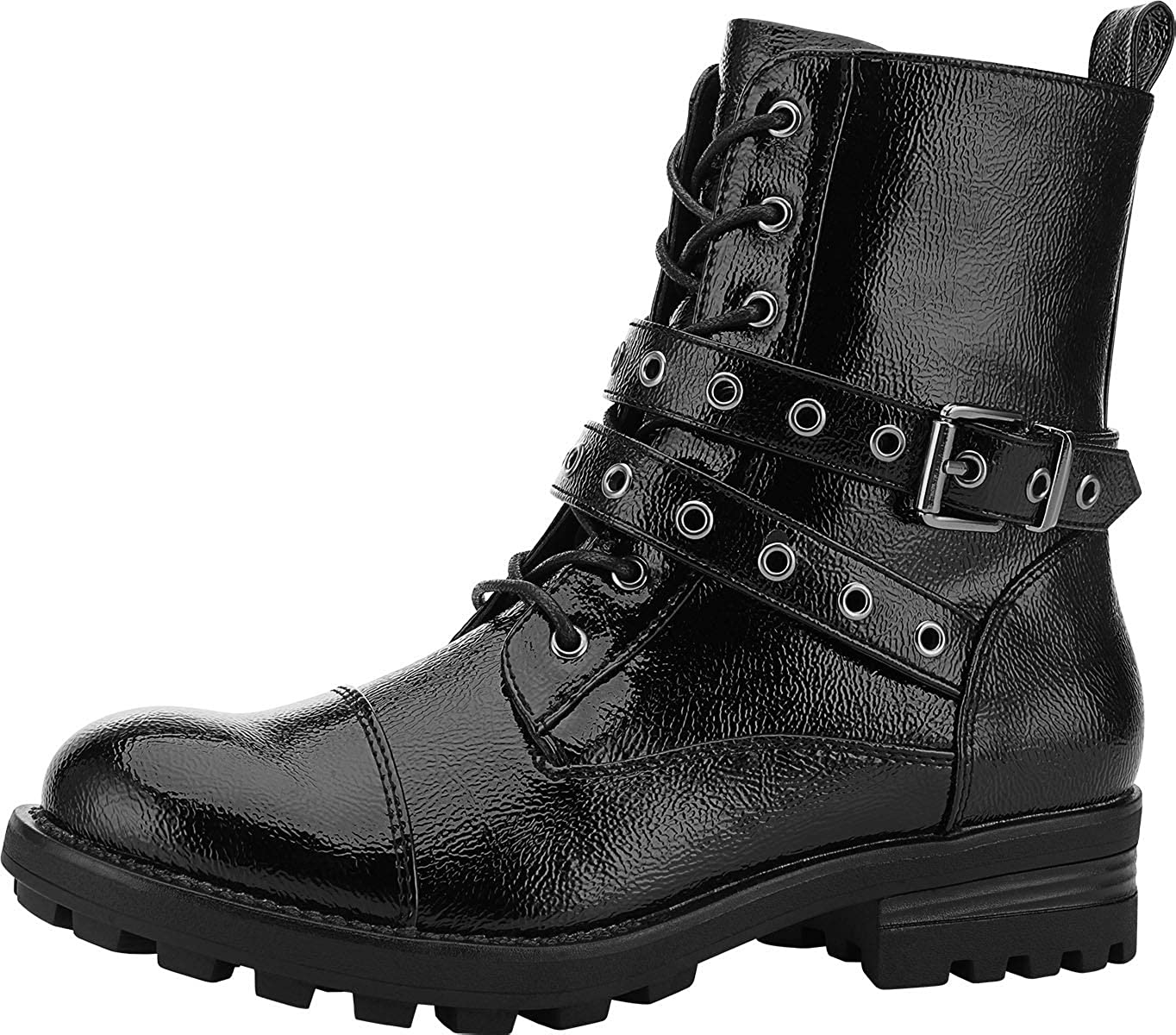 Yolanda Zula Women's Black Combat Boots Fashion Martin Booties Lace Up