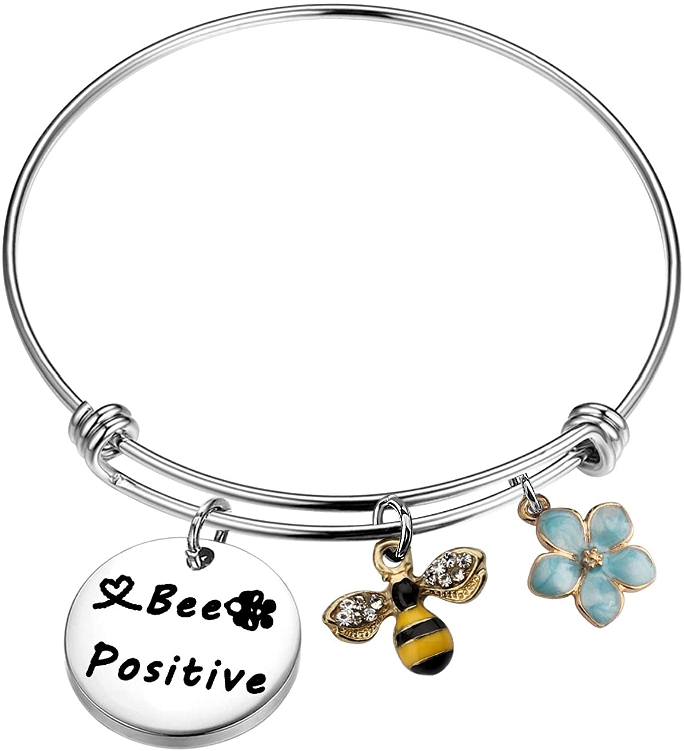 MYOSPARK Bee Positive Tiny Bee and Flower Charms Expandable Wire Bangle Bracelet Inspirational Jewelry Motivation Gift For Women Girls