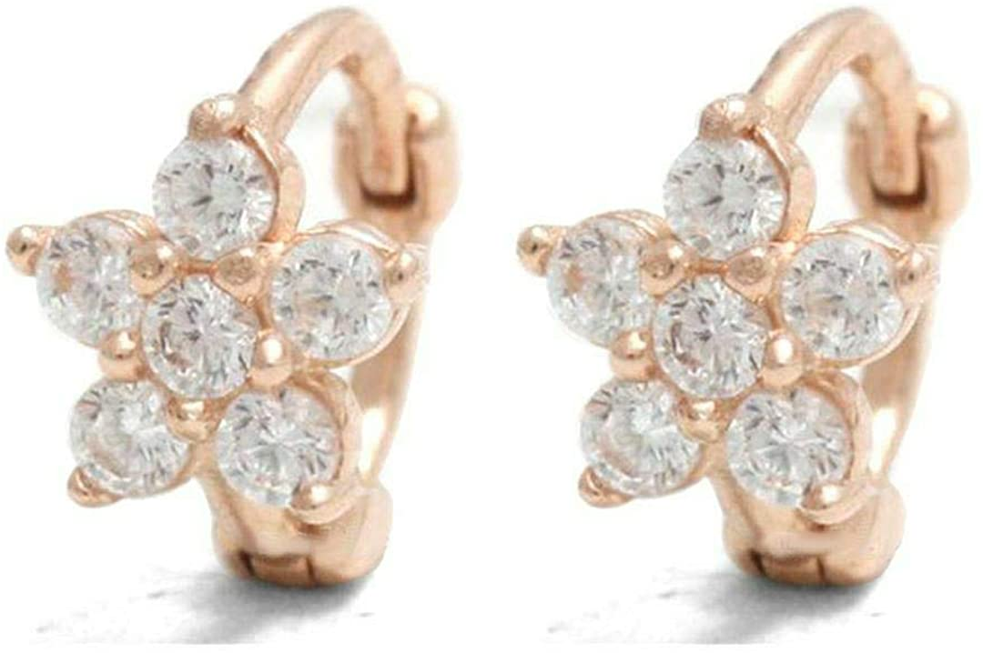Elegant Touch 14K Gold Plated Clip On Earrings Charm Fashion Diamond Floral Design Huggies Women Girls Party Jewelry Gifts
