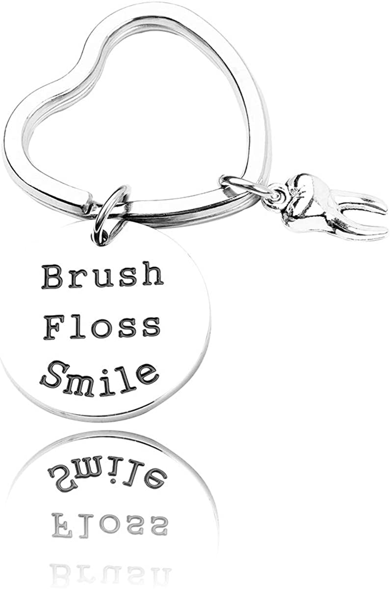 RUNXINTD Dentist Gift Hand Stamped Dental Bracelet Key Chains Brush, Floss, Smile Gift for Dental Hygienist,Dental Graduate