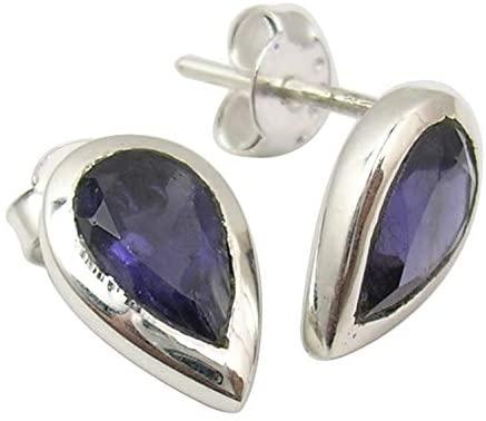 SilverStarJewel 925 Sterling Silver Natural 6 x 9 mm Iolite Earrings 1.3 cm New Fashion