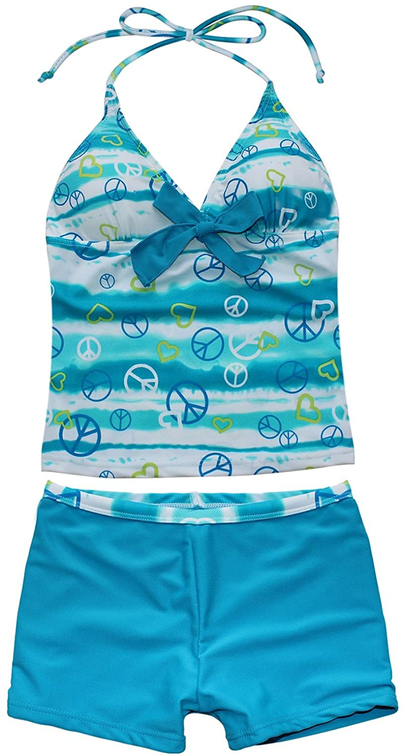 Hularka Kids Girls 2 Pieces Halter Camisole Tankini Swimsuits Tank Top with Shorts Swimwear Swimming Costume Bathing Suits