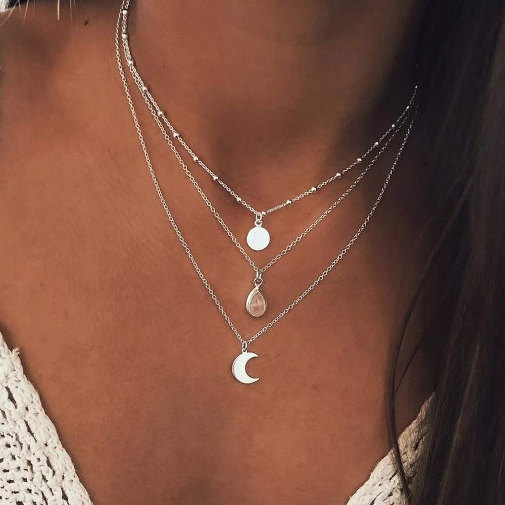 YienDoo Bohemian Multi-layer Necklace with Sequins Moon Water Drop Pendant Bead Choker Fashion Layered Necklaces Clavicle Chain Jewelry for Women and Girls (Silver)