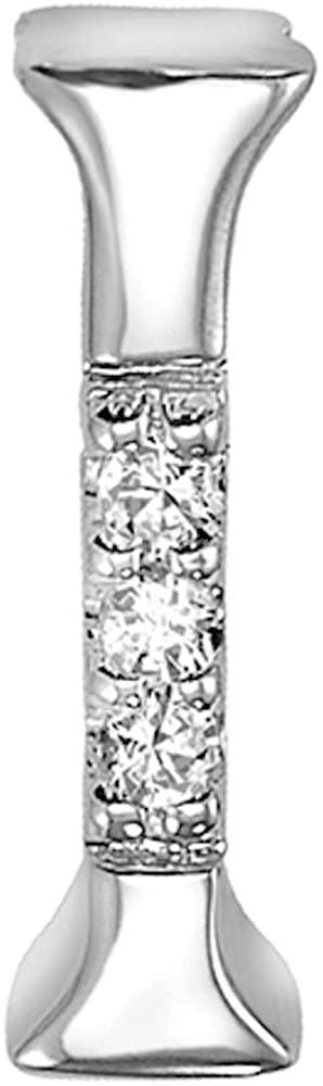 Jewels By Erika Mini 14K White Gold and Diamond Initial Pendant
