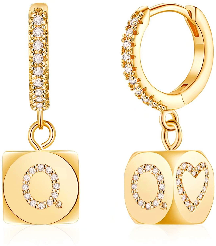 Initial Earrings for Women Girls, S925 Sterling Silver Post Small Dangle Huggie Hoop Earrings Hypoallergenic CZ Letter Initial Earrings for Women Girls Jewelry Gifts