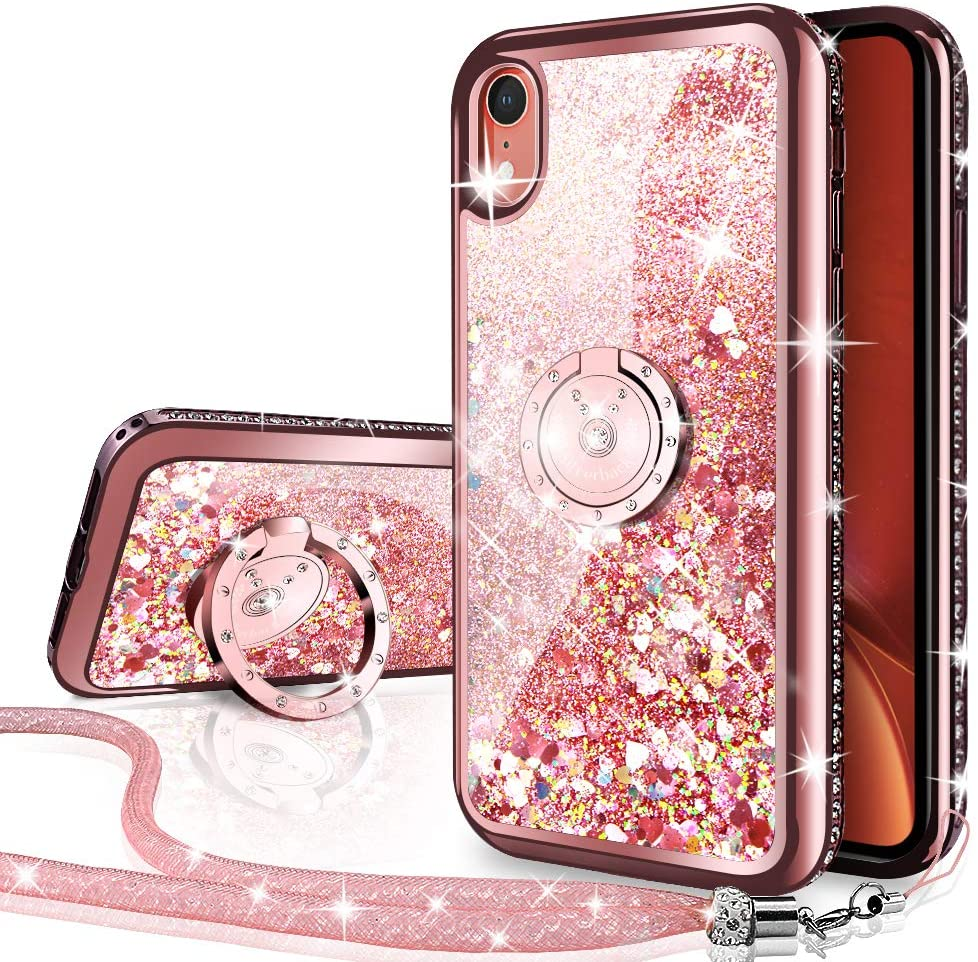 Silverback iPhone XR Case, Moving Liquid Holographic Sparkle Glitter Case with Kickstand, Bling Diamond Rhinestone Bumper W/Ring Stand Slim Protective Apple iPhone XR Case for Girls Women -Rose Gold