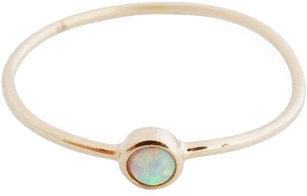 HONEYCAT Opal Solitaire Ring in Solid 14K Gold or 14k Rose Gold (Size 5-9)