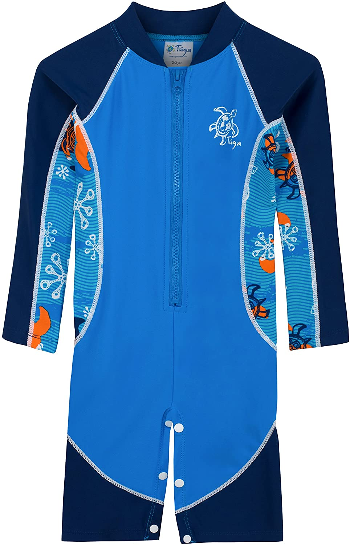 Tuga Boys Long Sleeve One Piece Swimsuit 3mos - 7 Years, UPF 50+ Sun Protection