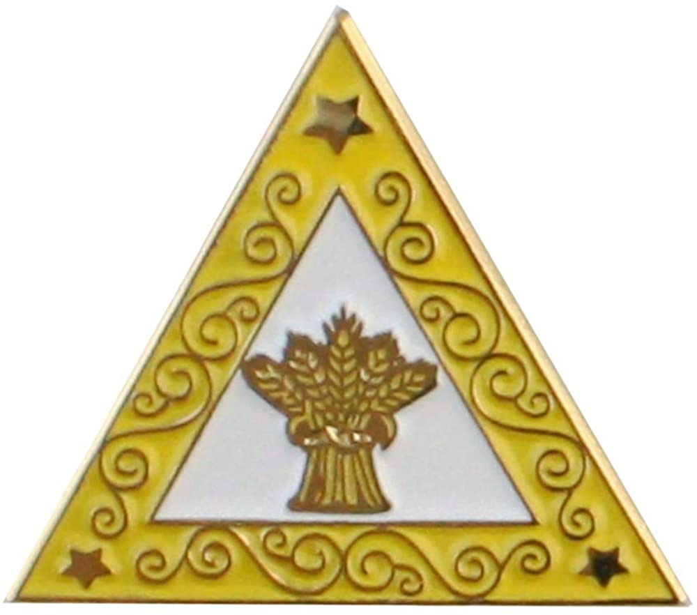 Ruth OES Eastern Star Yellow Triangle Lapel Pin One Inch Gold Plated