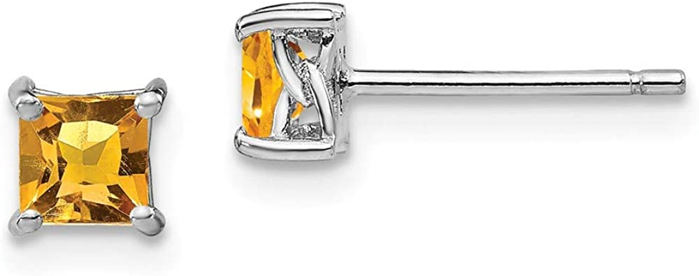 925 Sterling Silver 4mm Princess Yellow Citrine Post Stud Earrings Birthstone November Prong Fine Jewelry For Women Gifts For Her