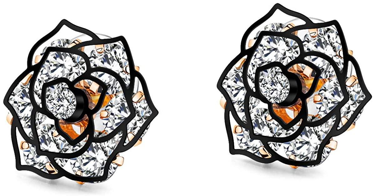 1-2 Pairs Halo Stud Earrings Hollowed Black Rose Flower/Butterfly CZ Cubic Zircon Earrings for Womens Sensitive Ears