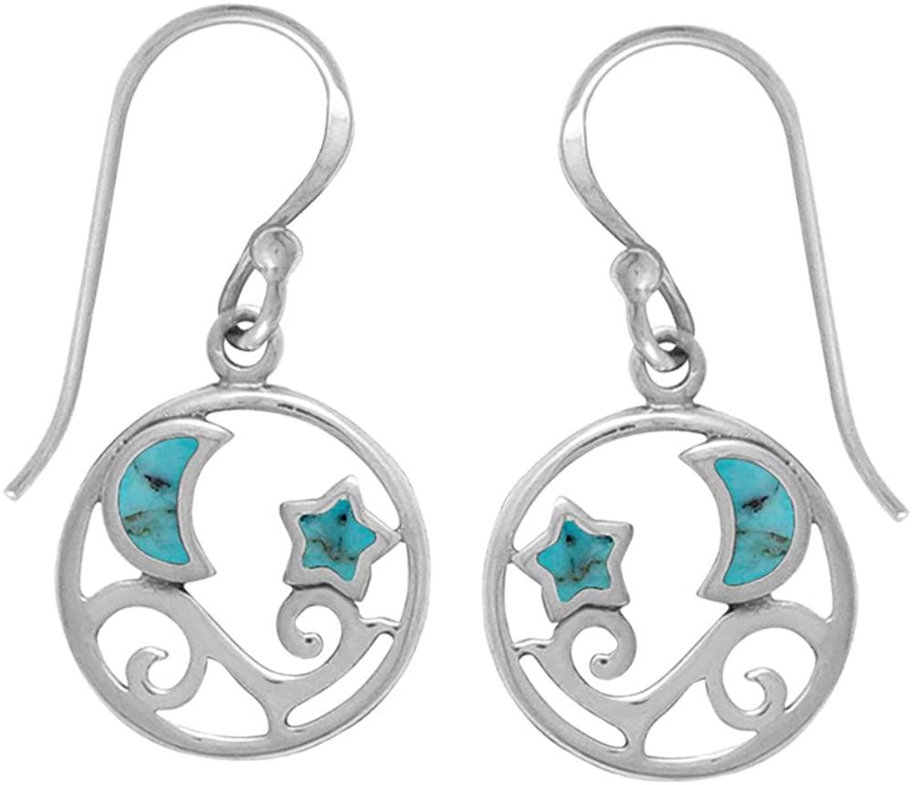 Boma Jewelry Sterling Silver Moon & Stars Earrings