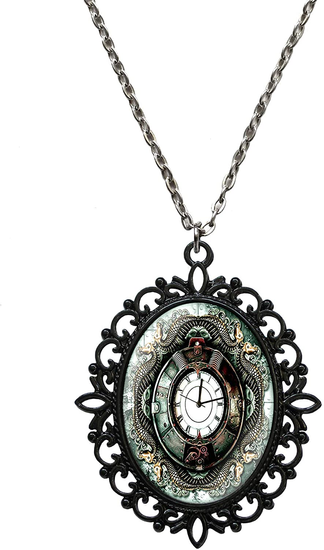 Victorian Vault Art Steampunk Chronos Serpent Black Pendant Necklace on Chain