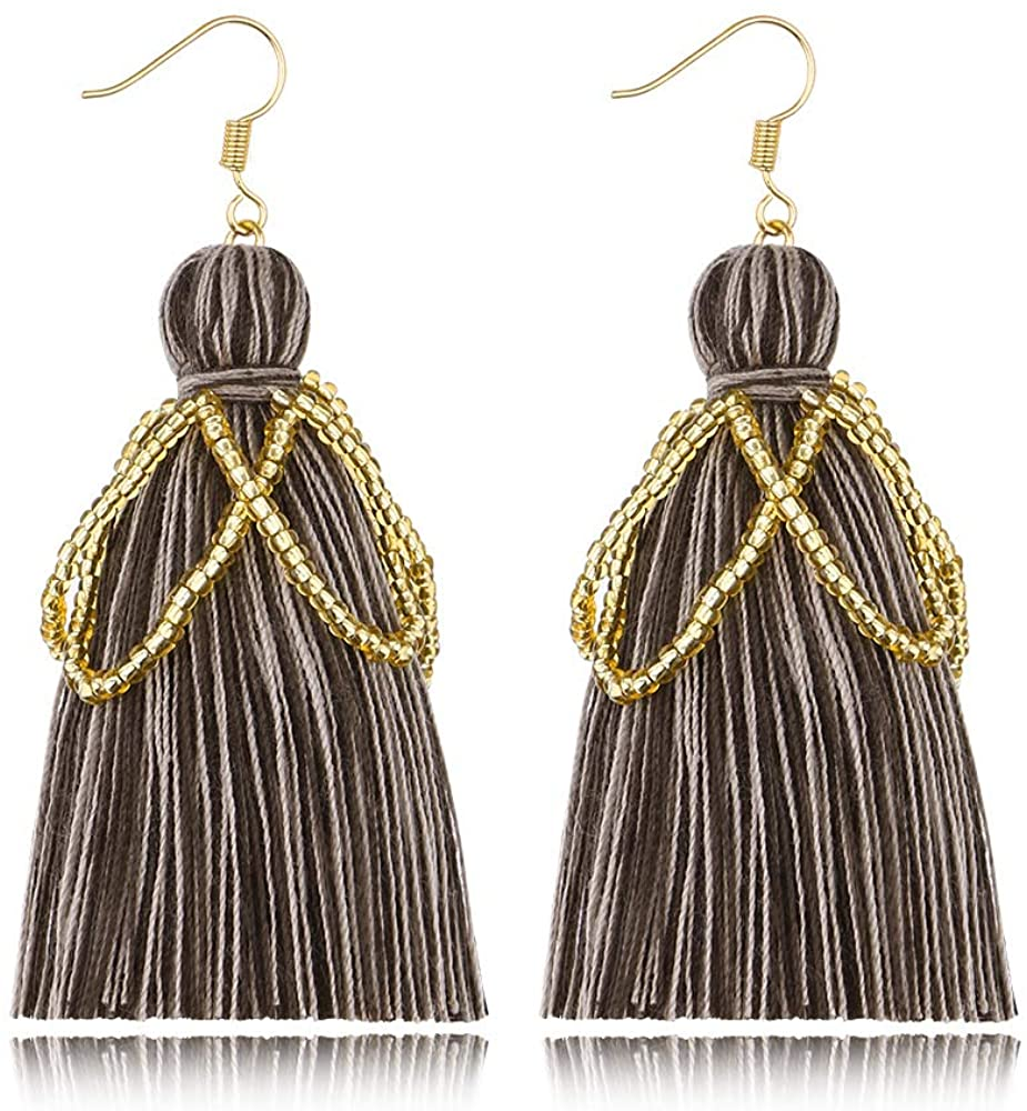 Gmillions Women's Beaded Tassel Earrings Statement Fringe Drop Dangle for Women Daily Wear Family and friends gathering and shopping Gifts