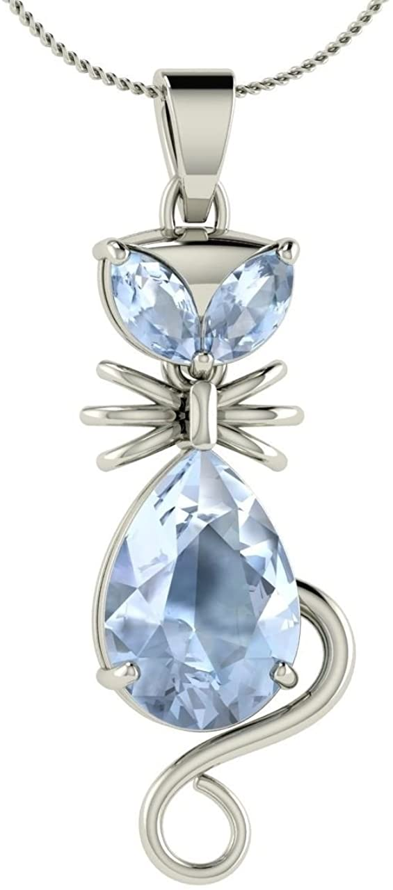 IRA Cat Style Pendant Necklace W/Chain 5 Ct Pear & Marquise Aquamarine Diamond 925 Sterling Silver for Women Girls,Christmas Jewelry