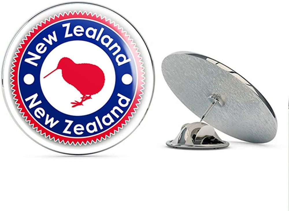 New Zealand Kiwi Bird Label Round Metal 0.75