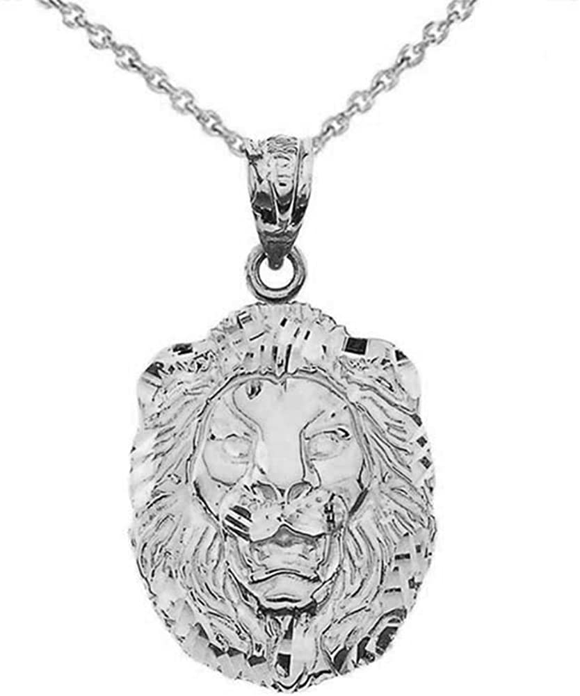 Bold Sterling Silver Sparkle-Cut Lion Statement Pendant Necklace (Small)