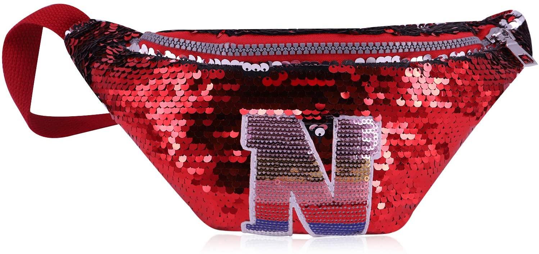 QTKJ Cute Fashion N Letter Reversible Mermaid Sequins Zipper Waist Bag with Adjustable Belt Bags Shoulder Bag Crossbody Bag for Boy Girls (Red)