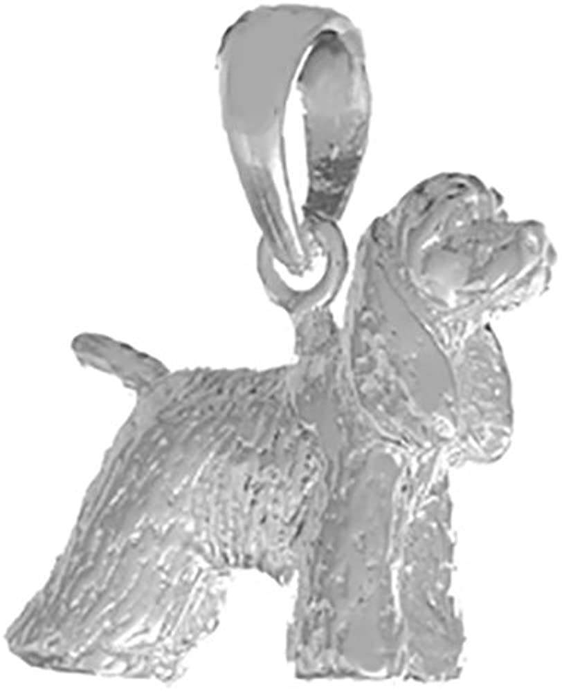 925 Sterling Silver Dog Charm Pendant, 3-D Cocker Spaniel Textured