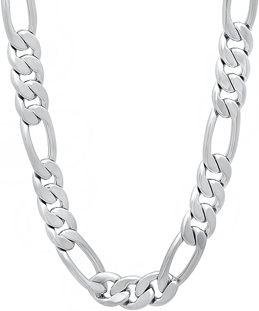 The Bling Factory 7mm High-Polished 0.25 mils (6 microns) Rhodium Plated Flat Figaro Chain Necklace, 7'-36