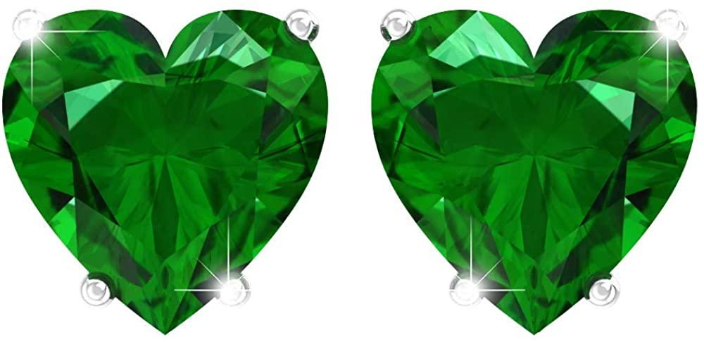 Belinda Jewelz Womens Heart Shaped Fine Gemstone Jewelry Accessory Stud Earrings
