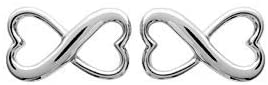 Caterina Jewelry Women's and Girls' Connections Infinity Hearts Earrings in Sterling Silver Rhodium