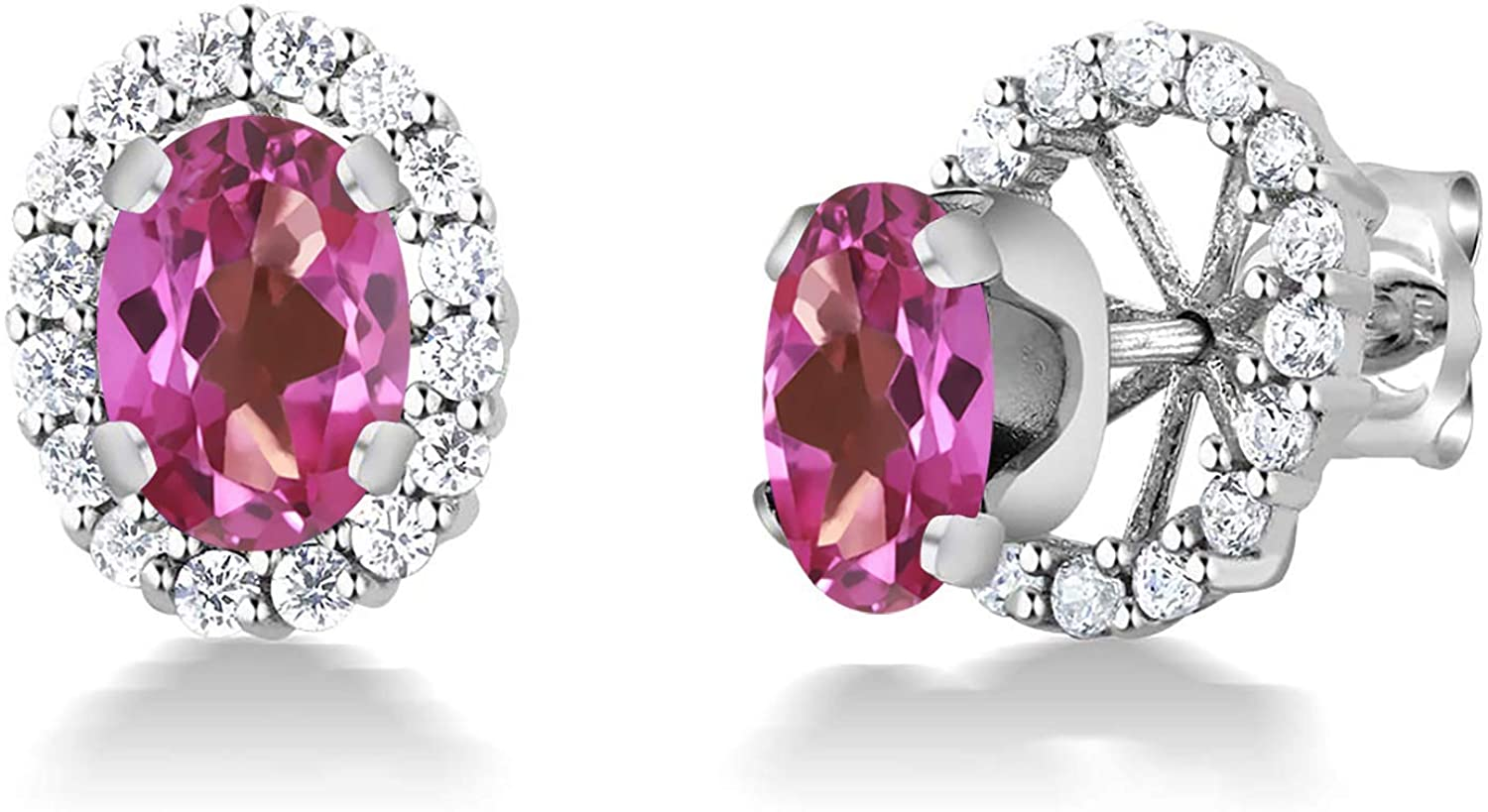 Gem Stone King 2.00 Ct Sterling Silver Pink Mystic Topaz Removable Jacket Stud Earrings 7x5 milimeters