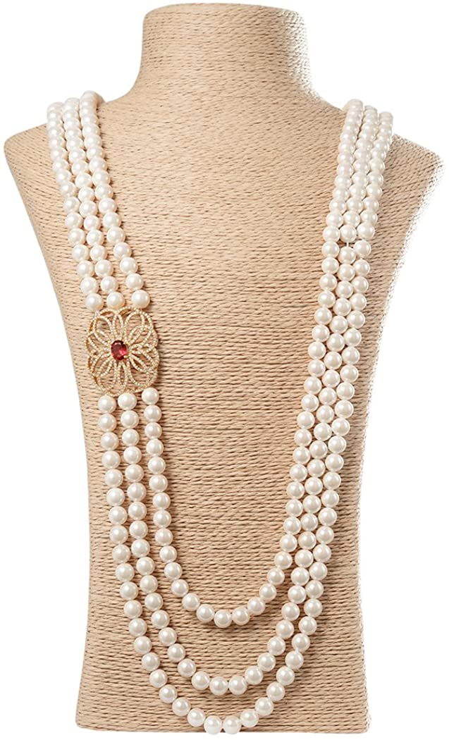 Romantic Time Pearl Hollow Flower Accessory Ruby Pendant Necklaces Beads 3 Strand Fashion Jewelry