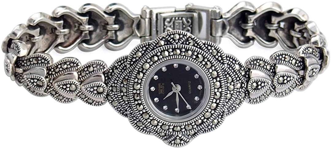 Sterling Silver 925 Watches for Women - Antique Jewelry Bracelet Wristwatch HFS2