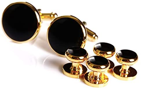 New! Cufflinks and studs set for smoking, tuxedo and dress shirts with jewelry box (6-piece set)