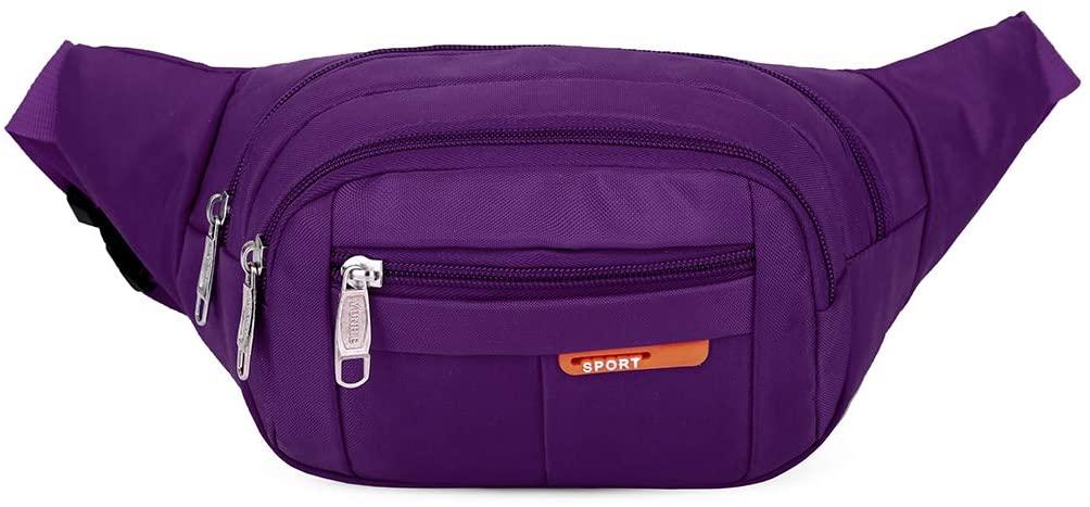 QINREN Men Women Sports Outdoor Fanny Pack Nylon Waterproof Waist Bag Bum Bag,Purple,Nylon