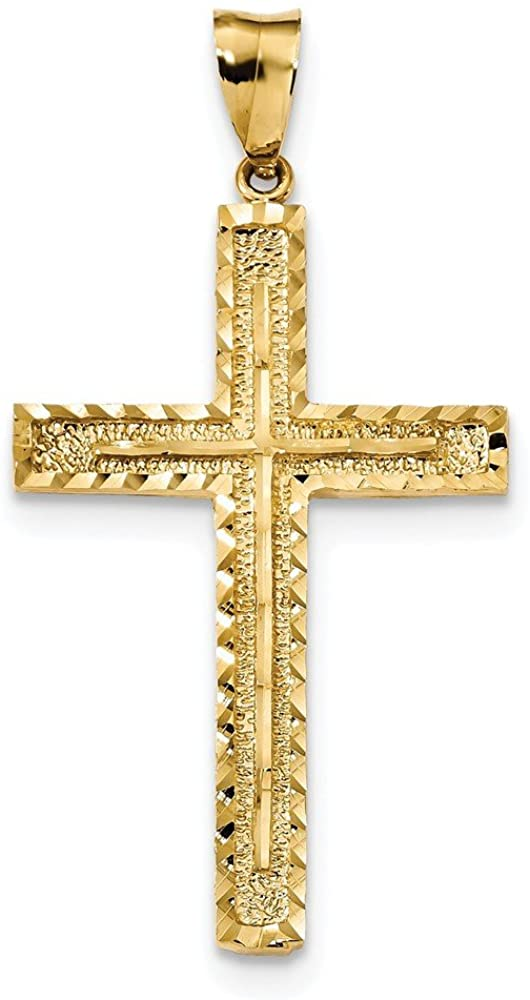 Diamond2Deal 14k Yellow Gold Polished and Textured Diamond-Cut Latin Cross Pendant for Women
