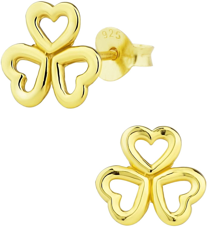 Hypoallergenic 14k Gold Plated Sterling Silver Triple Heart Stud Earrings for Kids (Nickel Free)