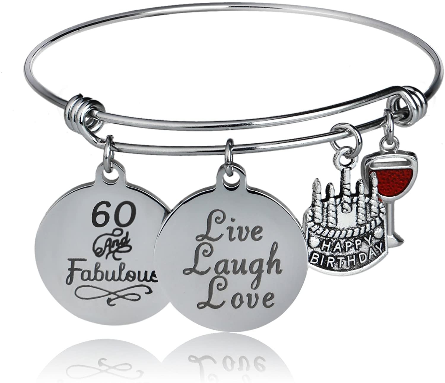 Happy Birthday Bangles, Cake Cheer Live Laugh Love Charms Bangle Bracelets, Gifts For Her