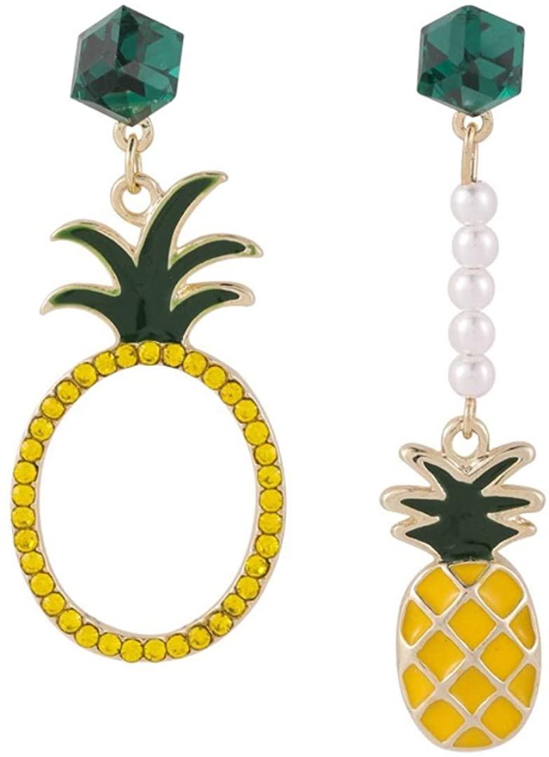 925 Silver Needle Crystal Square Pearl Earrings Fruit Pineapple Orange Earrings AB Asymmetrical Earrings