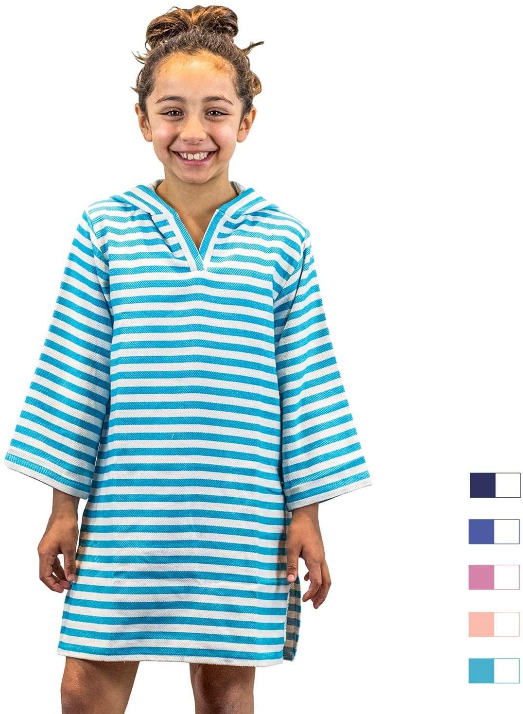 SAMMIMIS Kids Hooded Towel Cover Up, 100% Turkish Cotton, Premium Quality S Aqua/White
